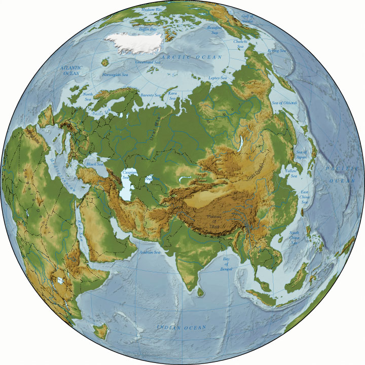 asia relief map - relief map of asia