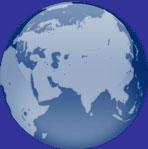 asia on a globe